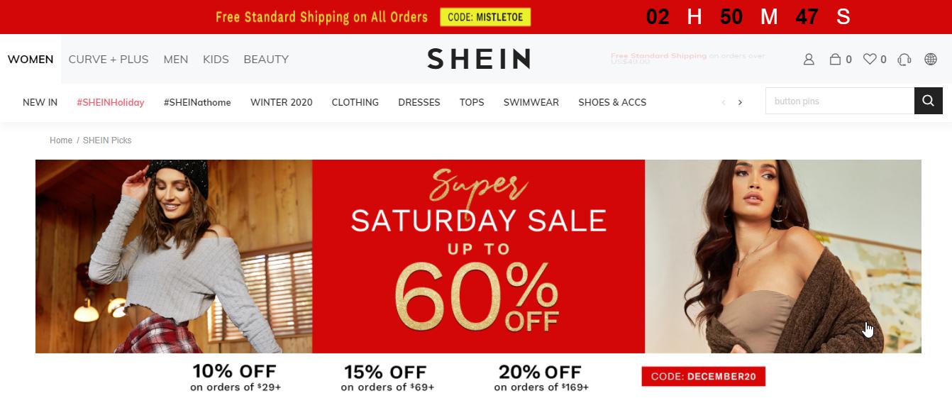 free standard shipping shein